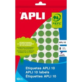 Etikett, 16 mm kör, kézzel írható, színes, APLI, zöld, 432 etikett/csomag [8 lap]