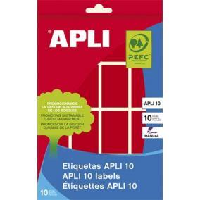 Etikett, 25x40 mm, kézzel írható, színes, kerekített sarkú, APLI, piros, 128 etikett/csomag [8 lap]