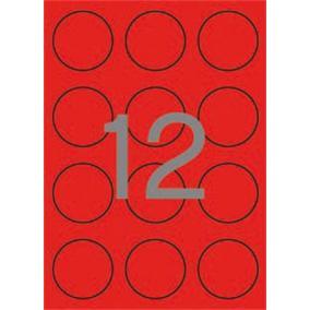 Etikett, 60 mm kör, színes, APLI, neon piros, 240 etikett/csomag [20 lap]