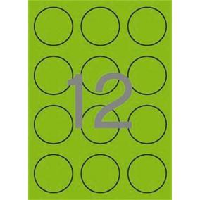Etikett, 60 mm kör, színes, APLI, neon zöld, 240 etikett/csomag [20 lap]