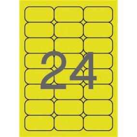 Etikett, 64x33,9 mm, színes, kerekített sarkú, APLI, neon sárga, 480 etikett/csomag [20 lap]