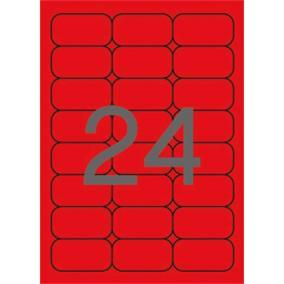 Etikett, 64x33,9 mm, színes, kerekített sarkú, APLI, neon piros, 480 etikett/csomag [20 lap]