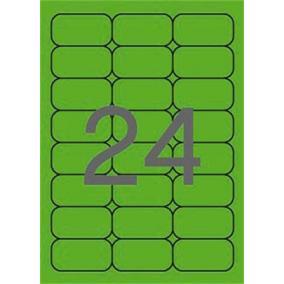 Etikett, 64x33,9 mm, színes, kerekített sarkú, APLI, neon zöld, 480 etikett/csomag [20 lap]