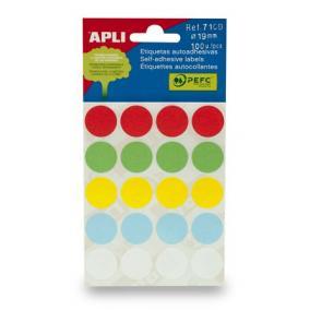 Etikett, 19 mm kör, kézzel írható, színes, APLI, vegyes színek, 100 etikett/csomag [5 lap]