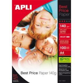 Fotópapír, tintasugaras, A4, 140 g, fényes, APLI