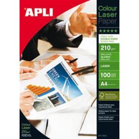 Fotópapír, lézer, A4, 210 g, fényes, kétoldalas, APLI