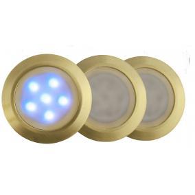 LED-GR01-3x0.5W, 3db-os matt arany földbe süllyesztett LED lámpa szett, kék fényű, IP44