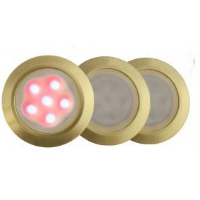 LED-GR01-3x0.5W, 3db-os matt arany földbe süllyesztett LED lámpa szett, piros fényű, IP44