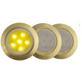 LED-GR01-3x0.5W, 3db-os matt arany földbe süllyesztett LED lámpa szett, sárga fényű, IP44