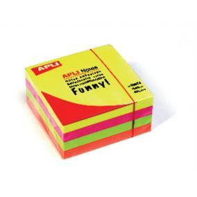 Öntapadó jegyzettömb, 75x75 mm, 400 lap, APLI, neon [400 lap]
