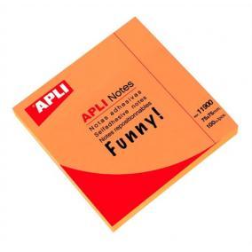 Öntapadó jegyzettömb, 75x75 mm, 100 lap, APLI, neon narancs [100 lap]