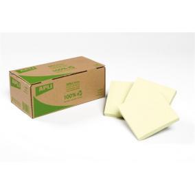 Öntapadó jegyzettömb, 75x75 mm, 100 lap, újrahasznosított, APLI, sárga [100 lap]