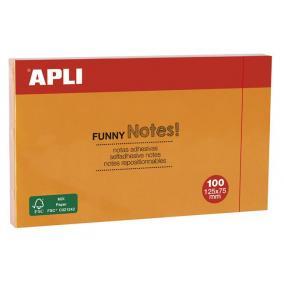 Öntapadó jegyzettömb, 125x75 mm, 100 lap, APLI, narancssárga [100 lap]