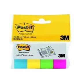 Jelölőcímke, papír, 4x50 lap, 20x38 mm, 3M POSTIT, ultra vegyes [200 lap]