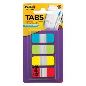 Jelölőcímke, műanyag, megerősített, 4x10 lap, 16x38 mm, 3M POSTIT, vegyes színek [40 lap]