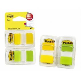 Jelölőcímke, műanyag, 2x50 lap, 25x43 mm, 3M POSTIT, sárga és zöld [100 lap]