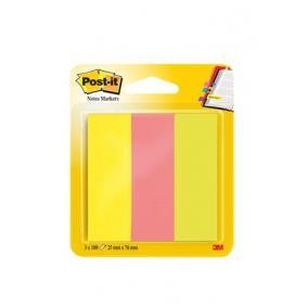Jelölőcímke, papír, 3x100 lap, 25x76 mm, 3M POSTIT, vegyes neon színek [300 lap]