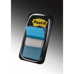 Jelölőcímke, műanyag, 50 lap, 25x43 mm, 3M POSTIT, kék [50 lap]