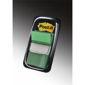 Jelölőcímke, műanyag, 50 lap, 25x43 mm, 3M POSTIT, zöld [50 lap]