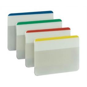 Jelölőcímke, műanyag, megerősített, döntött, 4x6 lap, 50x38 mm, 3M POSTIT, vegyes színek [24 lap]