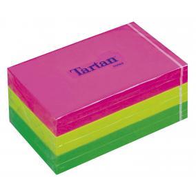 Öntapadó jegyzettömb, 127x76 mm, 100 lap, 6 tömb/cs, TARTAN, vegyes neon színek [600 lap]
