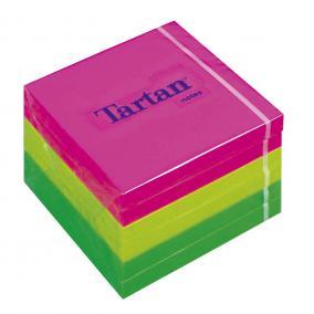 Öntapadó jegyzettömb, 76x76 mm, 100 lap, 6 tömb/cs, TARTAN, vegyes neon színek [600 lap]