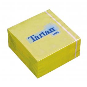 Öntapadó jegyzettömb, 76x76 mm, 400 lap, TARTAN, sárga [400 lap]