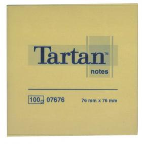 Öntapadó jegyzettömb, 76x76 mm, 100 lap, 12 tömb/cs, TARTAN, sárga [1200 lap]