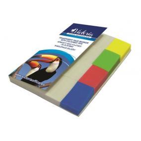 Jelölőcímke, műanyag, 4x40 lap, 20x50 mm, VICTORIA, vegyes szín [160 lap]