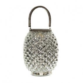 Lámpás füllel üveg, fém 21 cm ezüst
