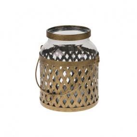 Lámpás üveg betéttel fém 21X17x21 cm antik réz