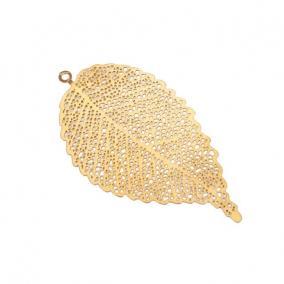 Levél dekor akasztós fém 6,5 cm x 3,5 cm arany [4 db]