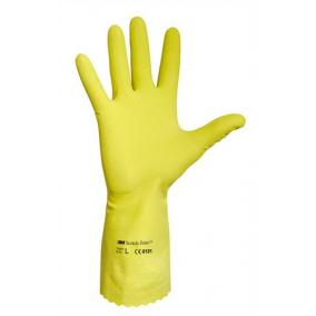 Védőkesztyű, latex, 7-es méret, sárga [10 pár]