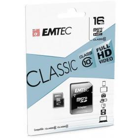 Memóriakártya, microSDHC, 16GB, CL10, 20/12 MB/s, adapter, EMTEC