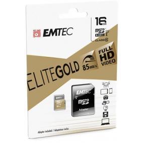 Memóriakártya, microSDHC, 16GB, UHS-I/U1, 85/20 MB/s, adapter, EMTEC