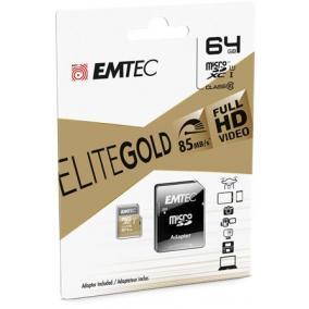 Memóriakártya, microSDXC, 64GB, UHS-I/U1, 85/20 MB/s, adapter, EMTEC