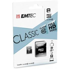 Memóriakártya, microSD, 8GB, 20/12 MB/s, EMTEC