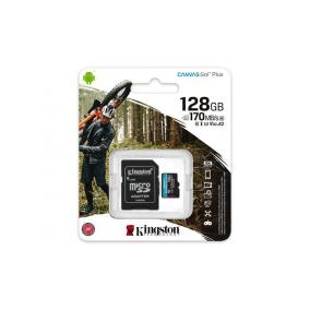 Memóriakártya, microSDXC, 128GB, C10/UHS-I/U3/V30/A2, adatper, KINGSTON