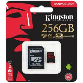 Memóriakártya, microSDXC, 256GB, CL10/U3/V30/A1, 100/80 MB/s, adapter, KINGSTON