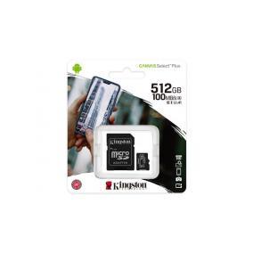 Memóriakártya, microSDXC, 512GB, CL10/U1/A1, adapter, KINGSTON