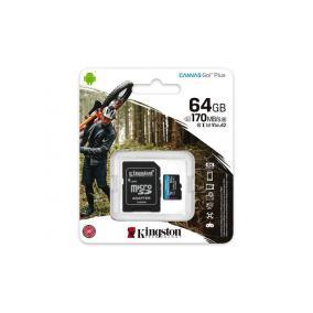 Memóriakártya, microSDXC, 64GB, C10/UHS-I/U3/V30/A2, adatper, KINGSTON