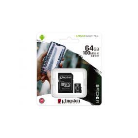 Memóriakártya, microSDXC,64GB, CL10/U1/A1, adapter, KINGSTON