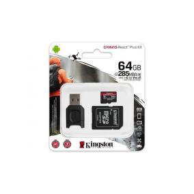 Memóriakártya, microSDXC, 64GB, C10/UHS-II/U3/V90/A1, kártyaolvasó, KINGSTON