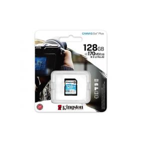Memóriakártya, SDXC, 128GB, C10/UHS-I/U3/V30/A2, KINGSTON