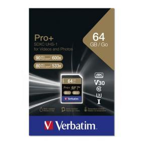 Memóriakártya, SDXC, 64GB, Class 10 UHS-I, 90/80MB/sec, VERBATIM