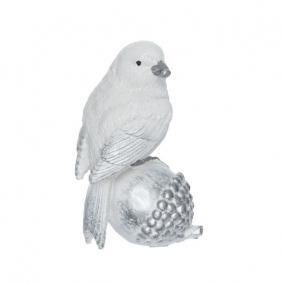 Madár makkon poly 7 cm x 5 cm x 11 cm fehér,ezüst