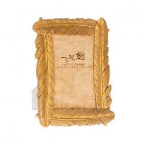 Madártoll mintázatú képkeret poly 18,3cm x23,5cm x1,8 cm arany