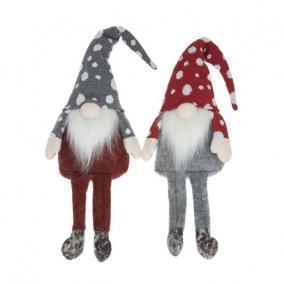 Manó lógólábú pöttyös sapkában textil 35cm szürke , piros 2 féle
