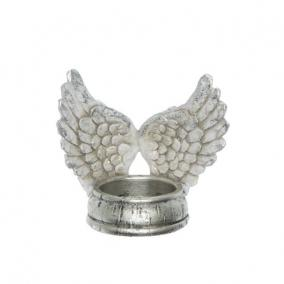 Mécsestartó angyalszárny polyresin 10,5 cm x 7,5 cm x 10 cm ezüst