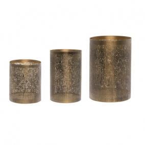 Mécsestartó antikolt fém 13x13x20,10x10x15,8x8x10cm rozsda/óarany [3 db]